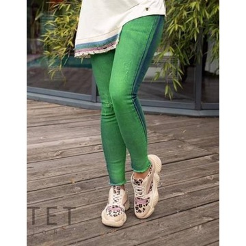 Jeansy damskie Fluo zielone Bastet rozmiar L