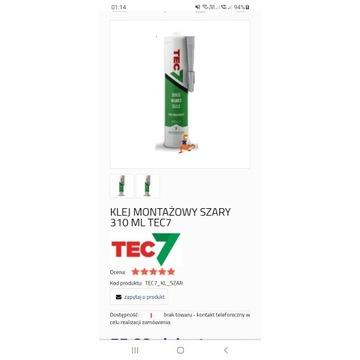 KLEJ MONTAŻOWY Szary i biały  310 ML TEC7
