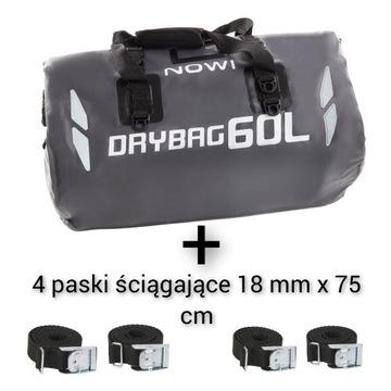 Drybag 60L, Torba, wodoodporna na motor + PASKI