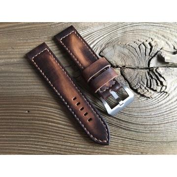 Pasek do zegarka handmade vintage skóra 24 mm