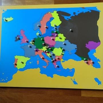 Mapa Europy puzzle pomoc Montessori