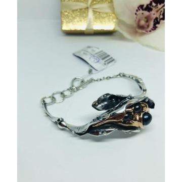 Nowa z metką srebrna bransoletka z perłami