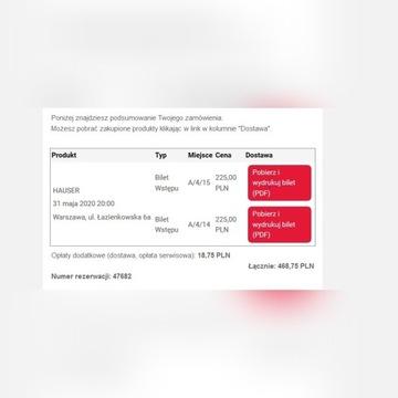 2 bilety na koncert Hausera 31.05.2020