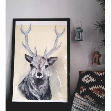 Rysunek jeleń obraz 95x65 cm jelonek, rogi jelenia