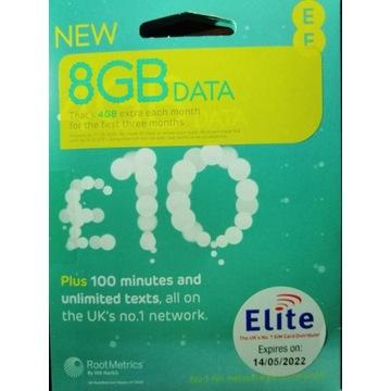 "Karta SIM ""EE"" BEZ REJESTRACJI 60GB na EU!"