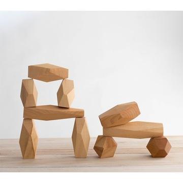 Drewniane kamienie balansujące naturalne 10el.