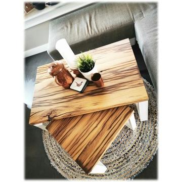 Stolik kawowy podwójny loft stare drewno dębowe