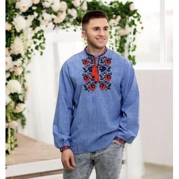 Męska koszula z haftem ludowym. Folk , Etno