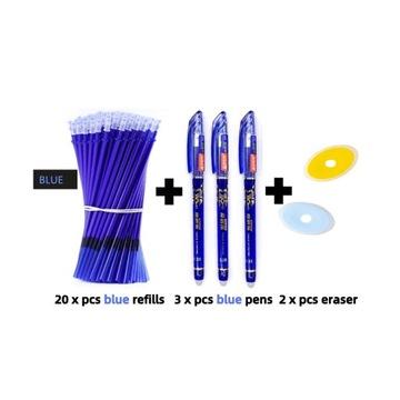 Długopisy zmazywalne 20 wkładów,3 długopisy 2gumki