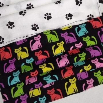 2 MASECZKI bawełna 100% clip-artowe kotki i łapki