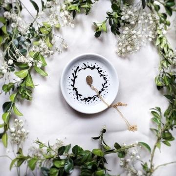 Spodek na biżuterie listki 9cm ręcznie malowany
