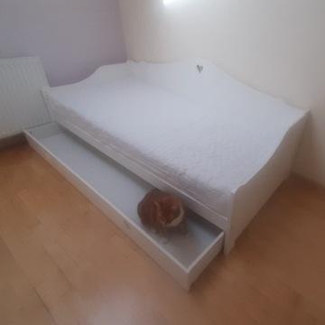 Łóżko 90×200 ze stelażem, materacem i szufladą