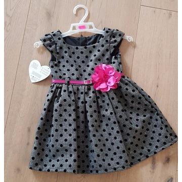 szara sukienka dla dziewczynki rozmiar 80 święta