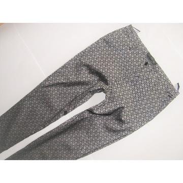 BOROWIECKI metaliczne Spodnie rurki glamour 36/38
