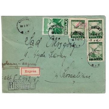 Koperta z 1948 roku z zestawem znaczków.
