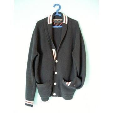 TOMMY HILFIGER - granatowy sweter rozpinany- XXL