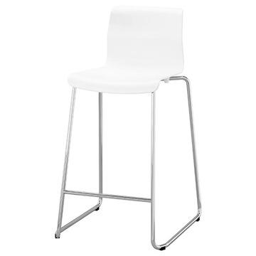 GLENN Stołek Barowy |Biały|Chrom|Hokker|Ikea
