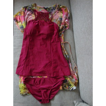 BONPRIX Bordowe tankini+plażowa sukienka rozm.40