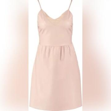 Nowa sukienka z eko skóry ONLY, pudrowy róż, 36/S