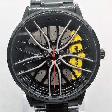 Męski zegarek felga 3D żółty