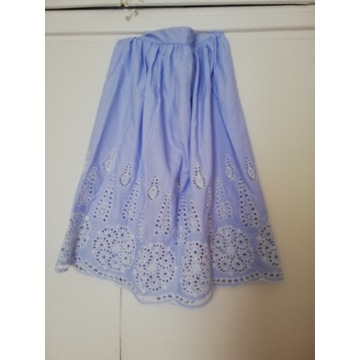 Spódnica H&m 40 haftowana, paski biało niebieskie