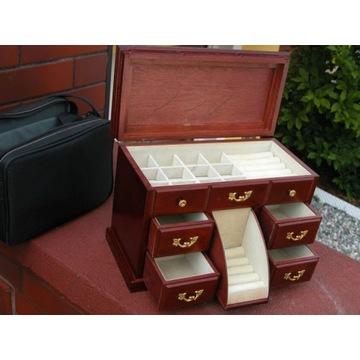 drewniany kuferek - szfka na biżuterię z lustrem