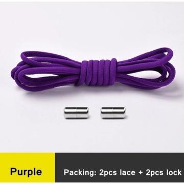 Sznurówki elastyczne z klamrą fioletowe