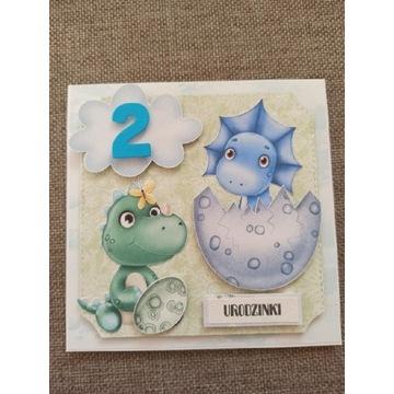 Kartka urodzinowa z dinozaurami dino