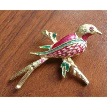 broszka złota emaliowana ptak ptaszek emalia