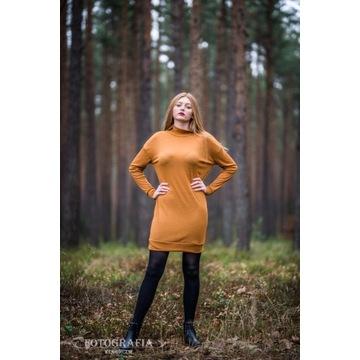 Tunika/sukienka wełniana, musztardowa; polska