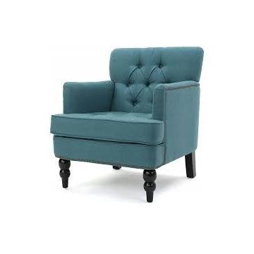 fotel turkus duży, tkanina,ozdobne akcenty