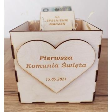 Oryginalny prezent na komunię, box pudełko na kasę