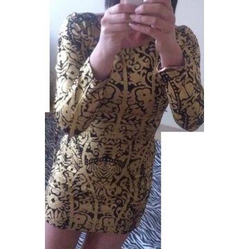 Złota czarna sukienka Point XS/S wzór etno