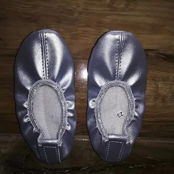 Baletki srebrne, spód ze skóry naturalnej