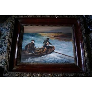 Śliczny obraz olejny na drewnianej płycie