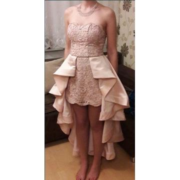 Suknia z gipiurą Lou brudny róż na Studniówkę