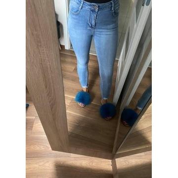 Rurki jeansy spodnie zip zamki poszarpane M