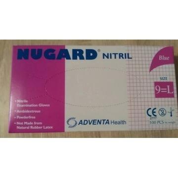 Rekawiczki jednorazowe nitrylowe bezpudrowe L