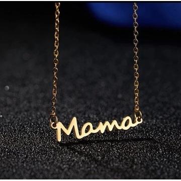 Naszyjnki z napisem MAMA stal złota