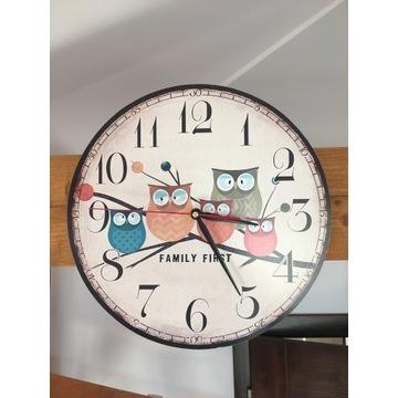 Zegar dziecięcy, ścienny z motywem sowy
