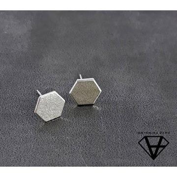 """""""Bee Cell"""" srebrne kolczyki"""