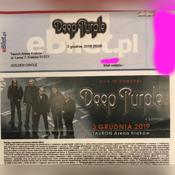 Bilet Deep Purple x2 Kraków 3 Grudnia Golden Circl