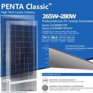 Moduły Panele fotowoltaiczne 280W Nowe Poli