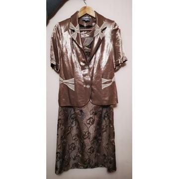 3-czesciowy złoty komplet :bluzka, spódnica żakiet