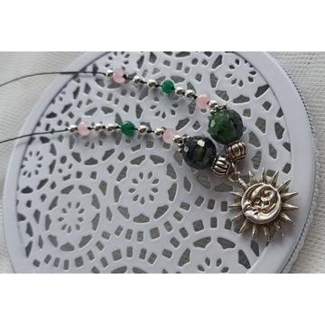 Naszyjnik amulet talizman słońce zoisyt z rubinem