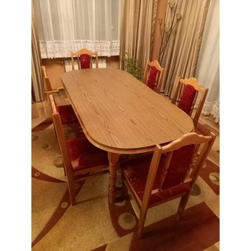 Stół 185x90 i 6 krzeseł Stan BDB!