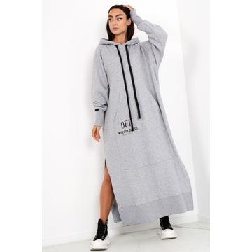 Bluza oversize Long Miss City Official szara