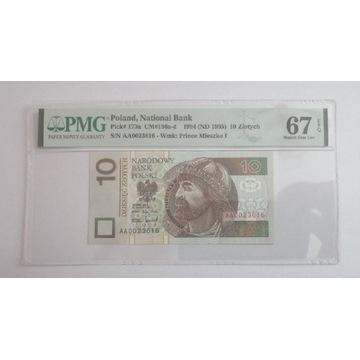 Banknot 10zl 1994 grading seria AA niski numer