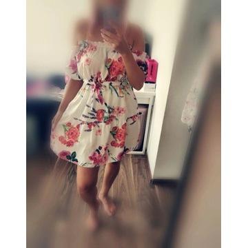 Sukienka falbanki kwiaty roz S /M hiszpanka