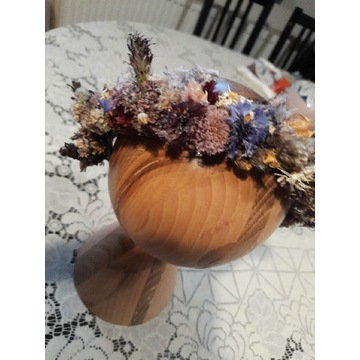 Wianek na głowę, wianek ślubny z suchych kwiatów